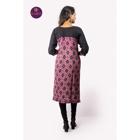 KARVI Purple & Black Ethnic Printed Front buttoned Kurti for Women