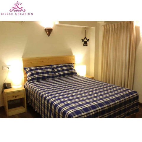 Bisesh Creation BD 09 Ink Blue /White Checkered Cotton Bed Sheet With 2 Pillow Cover