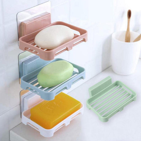 Bathroom Shower Soap Box Drain Storage Rack Strong Traceless Soap Holder 3pcs price in Nepal