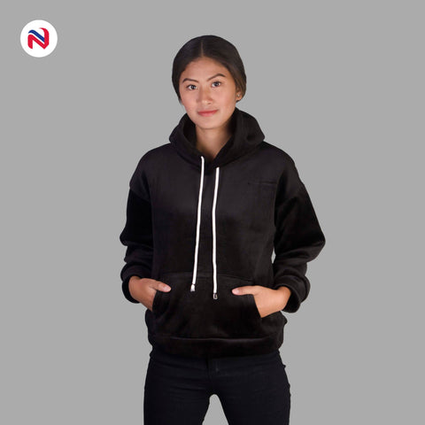 Nyptra Black Solid Plain Velvet Pullover Hoodie For Women price in nepal