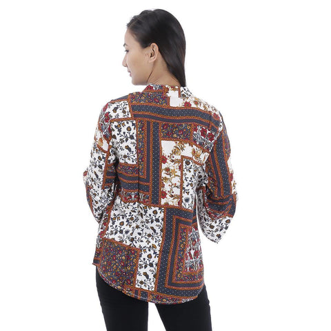 Brown White Abstract Printed Mandarin Tunic For Women
