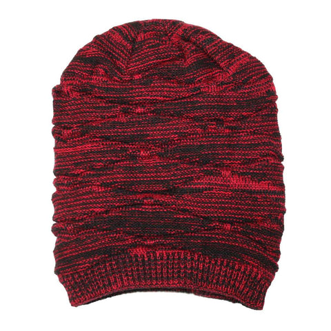 Long Korean Wool Knit Beanie Hat With Fur Inside - Red