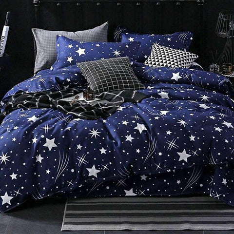 Star Printed King Size Bed Sheet With 2 Pillow Covers