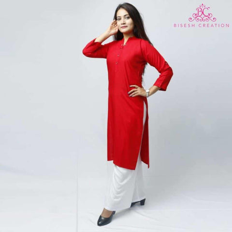 Red Rayon Long Kurti For Women