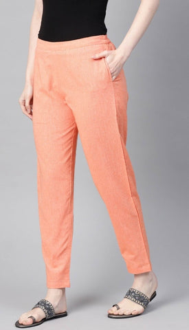 Orange Linen Solid Women'S Trousers` With Side Pocket price in nepal
