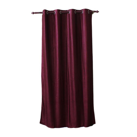 Plain Cotton Fabric Window/Door Curtain - (Light Blue/Maroon/Purple/Dark Brown)