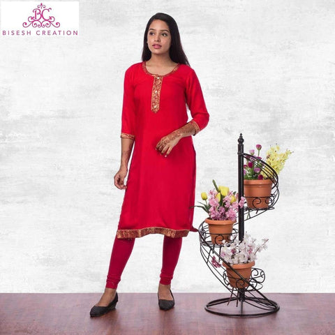 Bisesh Creation Red Brocade Bordered Rayon Kurti For Women