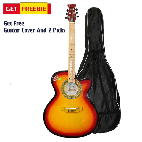 Sunburst Full Size Indian Guitar With Free Cover And 2 Picks