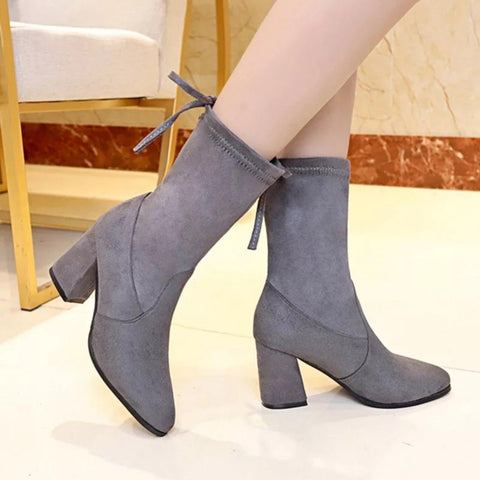 Luxury New Trendy Sweet Lamb Wool Block Heel Winter Boots For Women ( Nep-1)