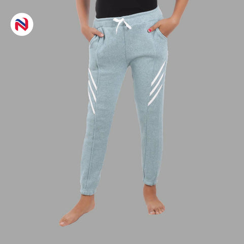 Nyptra Sky Blue Plain/Side Stripes Inner Fleece Joggers For Women price in nepal