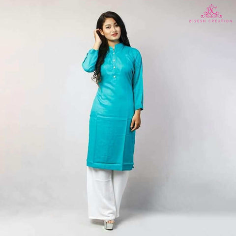 Sky Blue Rayon Kurti and Palazzo Set