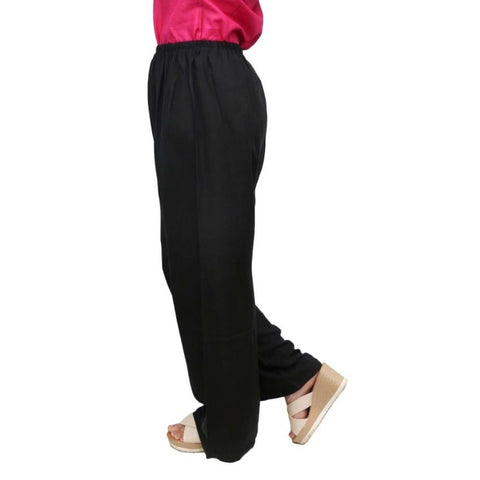 Black Solid Rayon Palazzos For Women