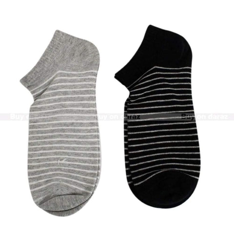 Grey/Black Striped Solid Ankle Socks For Men - Set Of 2 Price in Nepal