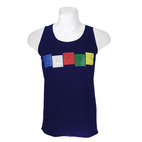 Navy Tibetan Prayer Flag Printed Tank Top For Men