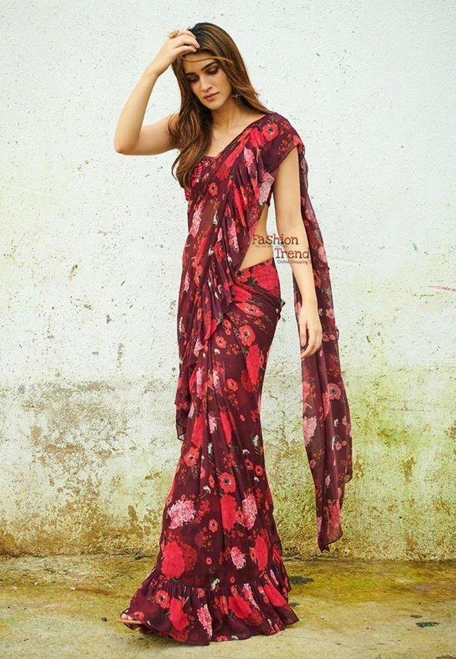 Red/Black Designer Printed Fancy Georgette Saree For Women
