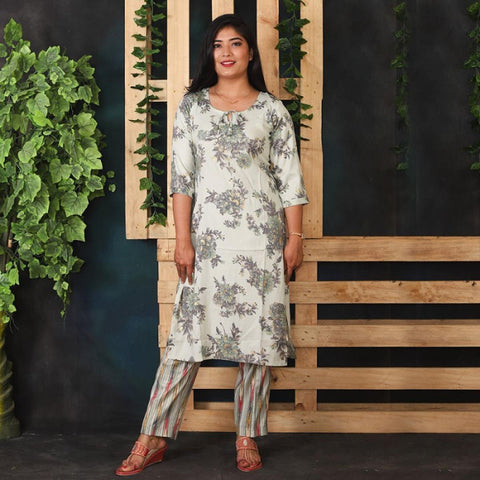 Blue Grey Floral Print Kurti with Striped Pant Set for Women price in Nepal