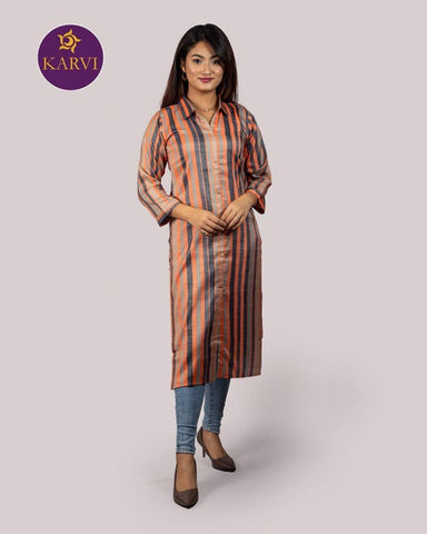 KARVI Orange & Blue Stripe Print Kurti for Women with Front Button price in Nepal