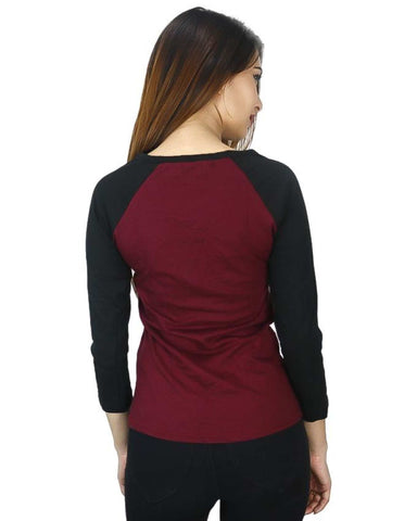 Black/Maroon Baseball T-Shirt For Women