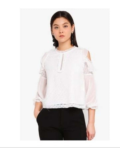 White lace Tops With Cut Out Details price in nepal