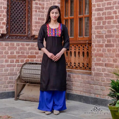 Bisesh Creation Black Ethnic Patchworked Kurti For Women