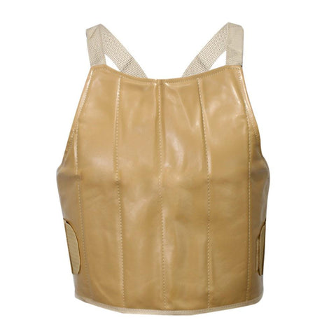 Beige Solid 100% Windproof Pu Leather Chest Guard