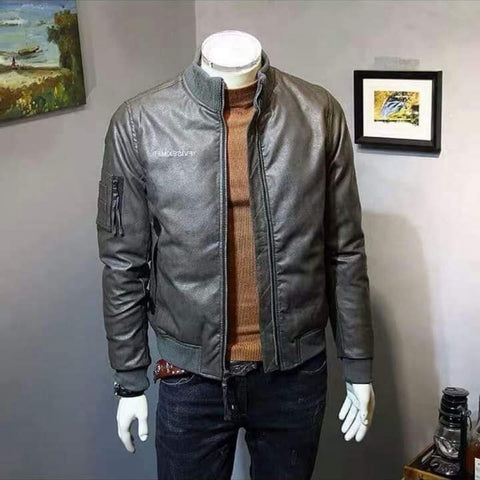 Faux Leather Bomber Bikers Jacket For Men