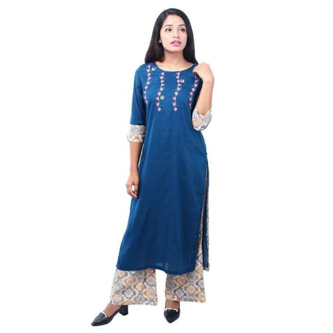 Blue Pure Rayon Top With Plazo Ready Made Printed Kurti For Women