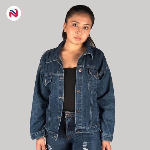 Nyptra Dark Blue Solid Denim Jacket For Women price in nepal