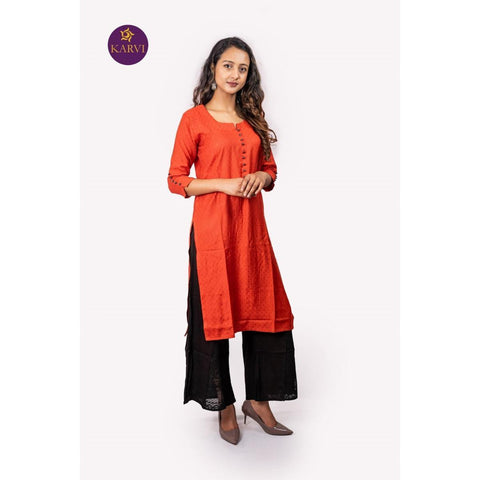 KARVI Red Kurti with Small Patterned Front Buttoned Design price in Nepal