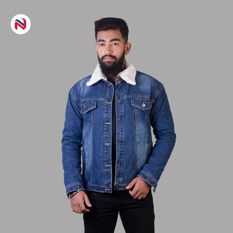 Nyptra Dark Blue Solid Fur Denim Jacket For Men price in nepal