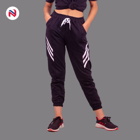 Nyptra Black Plain/Side Stripes Joggers For Women