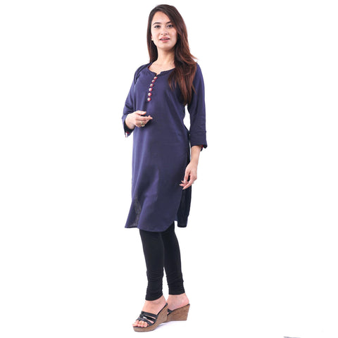 Bisesh Creation Navy Blue Linen Ethnic Kurti For Women