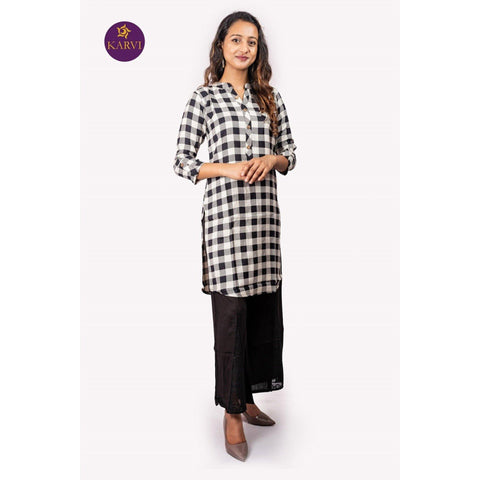 KARVI Checkered Black & White Kurti for Women price in Nepal