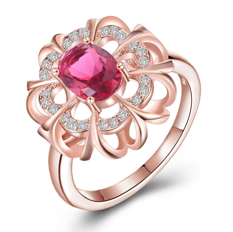 Elegant Pink Crystal White Rose Gold Flower Design Ring price in Nepal