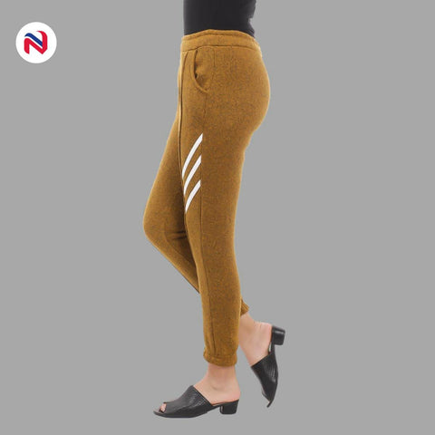 Nyptra Brown Plain/Side Stripes Inner Fleece Joggers For Women