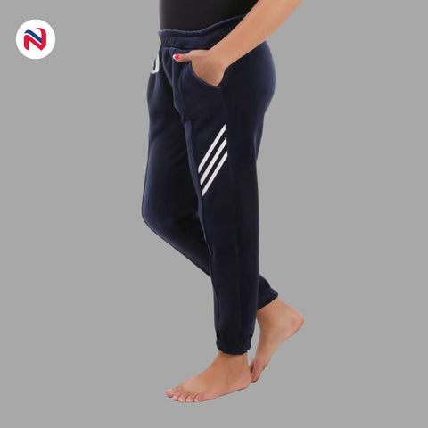 Nyptra Blue Velvet Stripes Inner Fleece Joggers For Women