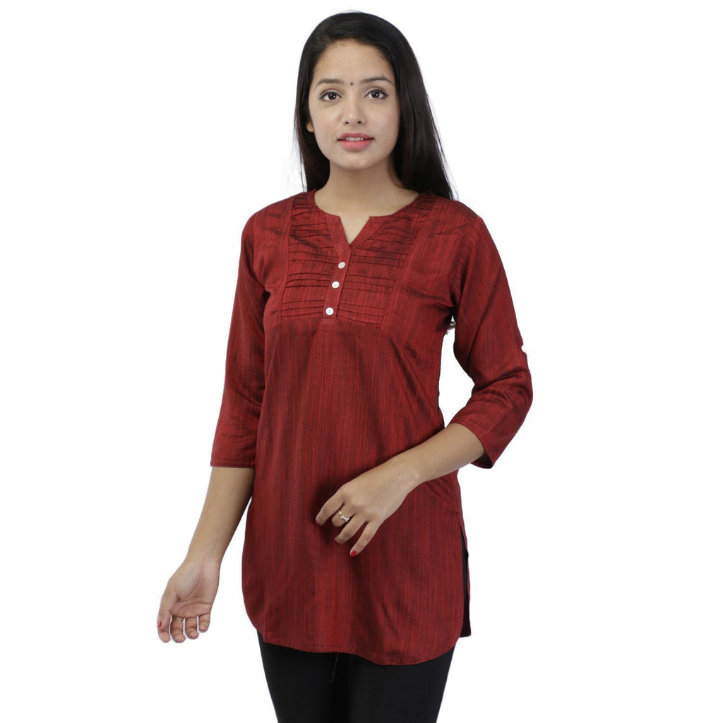 Maroon Lining Textured Rayon Slub Top For Women