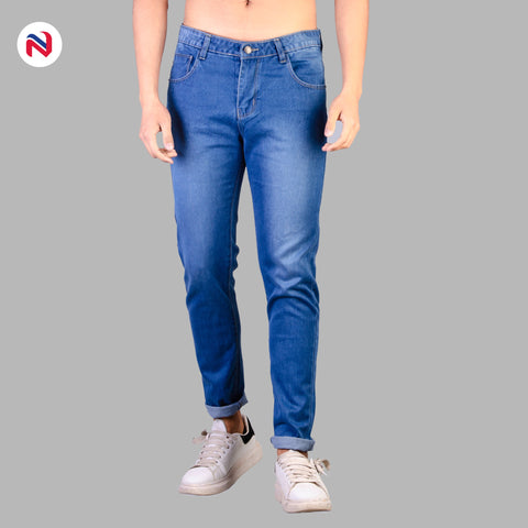 Nyptra Blue Solid Non Stretch Premium Choose Jeans For Men price in nepal