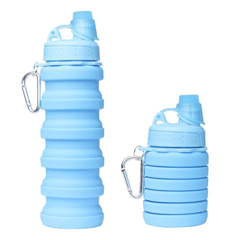 Silicone Expandable And Foldable Water Bottle 500Ml (Blue)