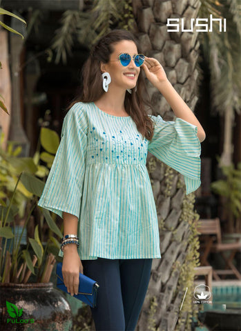 Sushi Cotton Designer Embroidered Short Tops # 006 price in nepal