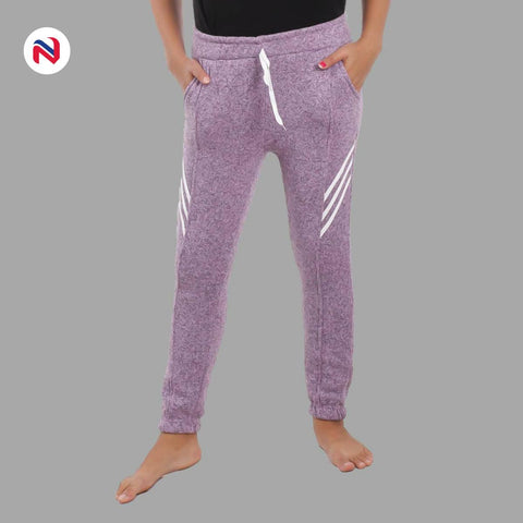 Nyptra Blue Gray Plain/Side Stripes Inner Fleece Joggers For Women price in nepal