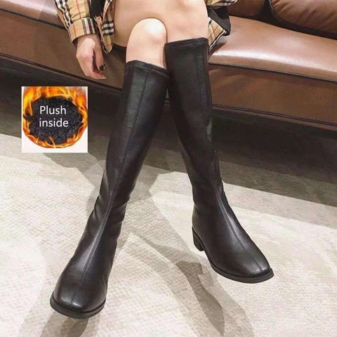 Winter Fashion Casual Long Knee High Boots Med Square Heels Short Plush Worm Inside Round Toe Rome Solid For Women( Cloud ) price in Nepal