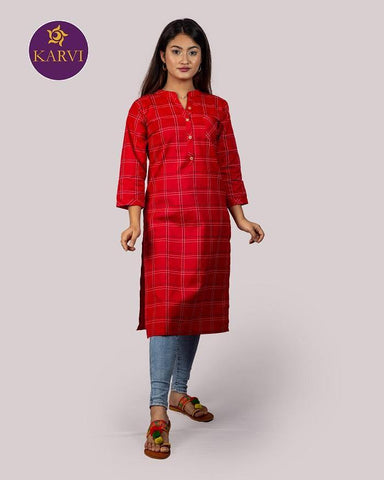 KARVI Red Checkered Print Kurti for Women with Front Button price in Nepal