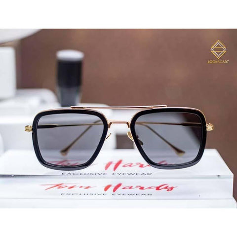 Uv400 Sunglass Golden Frame Black Lens