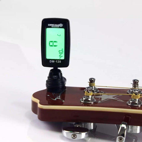 Dreammaker Dm-128 Clip-On Chromatic Tuner For Guitar/Ukulele/Bass Violin With Digital Display
