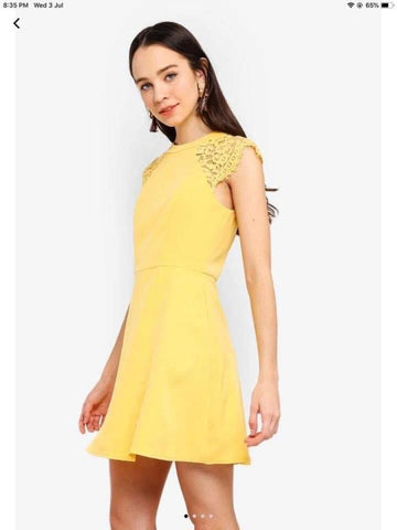 Something Borrowed Yellow Lace Panel Mini Dress