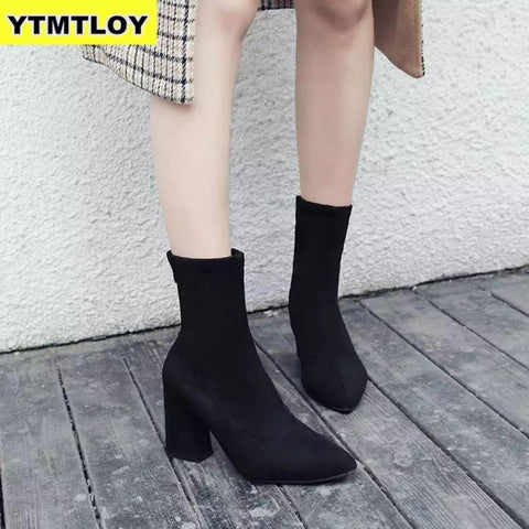 Fabulous Scrub Leather Women Fashion Hoof Heels Boots - ( Royal ) Price In Nepal