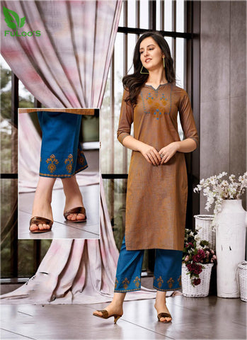 FuLoo's Prestige Pure Cotton Pattern Designer Embroidered Kurti for Women #02 price in nepal