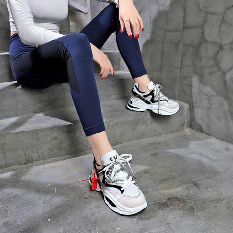Solid High Platform Sneakers For Women