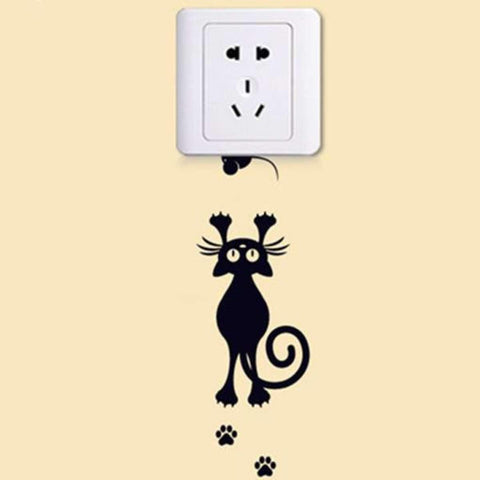 Lovely Cat Save Electricity Light Swich Removable Waterproof Wall Sticker